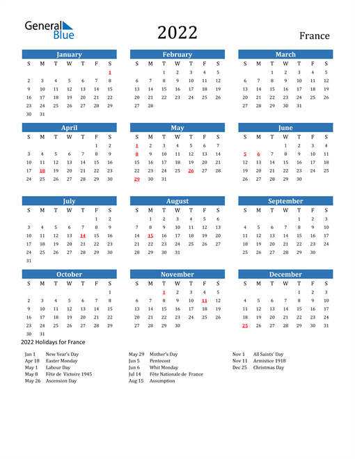 Image of 2022 Calendar - France with Holidays