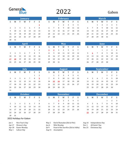 Image of 2022 Calendar - Gabon with Holidays