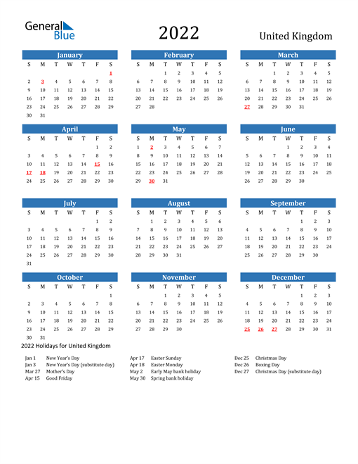 Image of 2022 Calendar - United Kingdom with Holidays