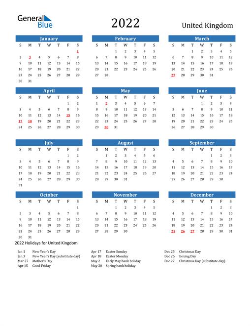 2022 Calendar United Kingdom With Holidays