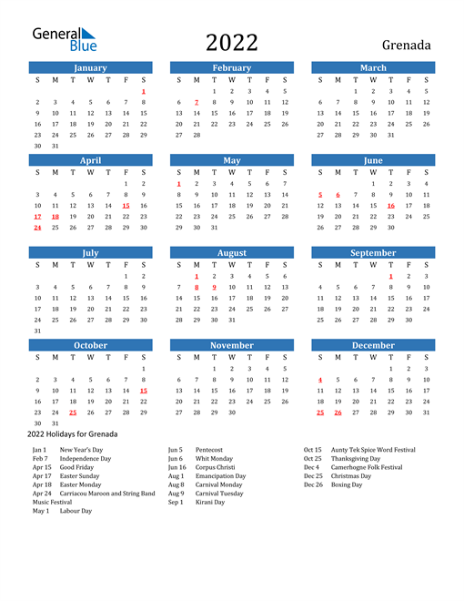 Image of 2022 Calendar - Grenada with Holidays