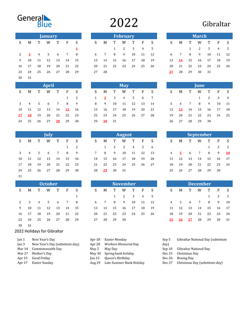 Image of 2022 Calendar - Gibraltar with Holidays
