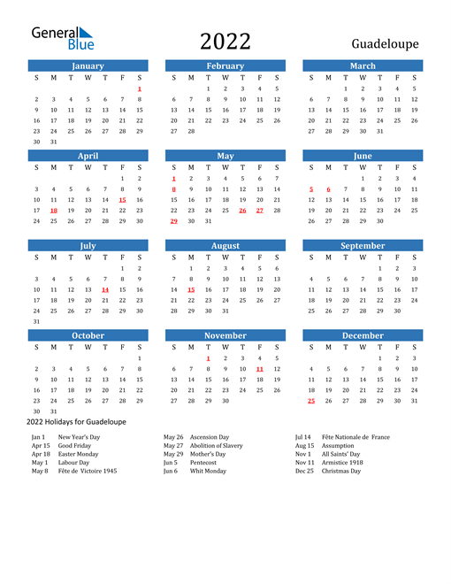 Image of 2022 Calendar - Guadeloupe with Holidays