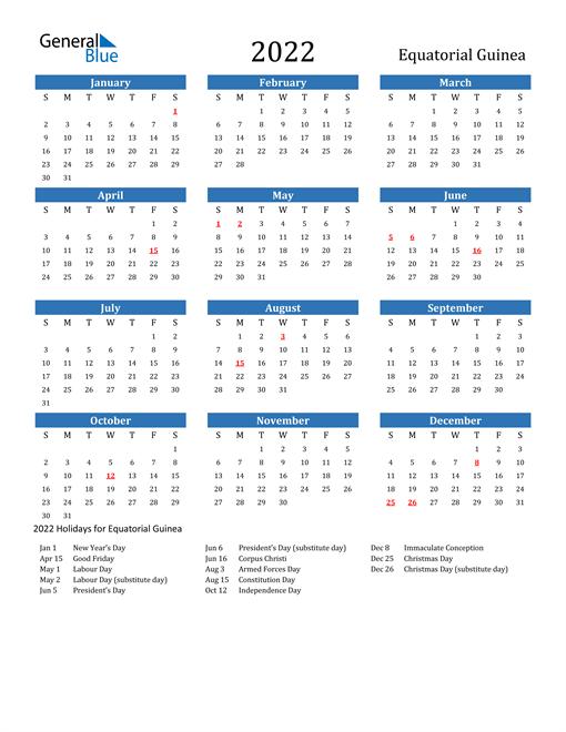 Image of 2022 Calendar - Equatorial Guinea with Holidays