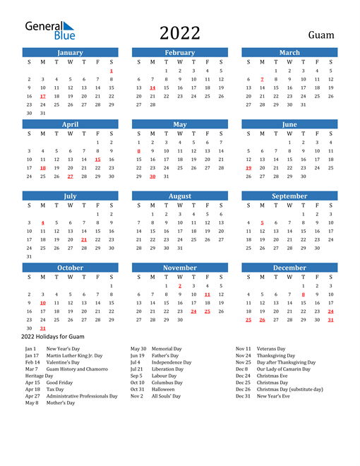 Image of 2022 Calendar - Guam with Holidays