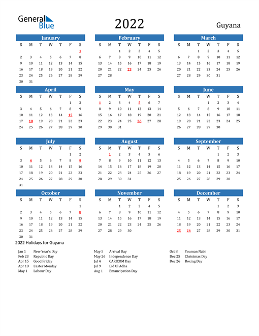Image of 2022 Calendar - Guyana with Holidays