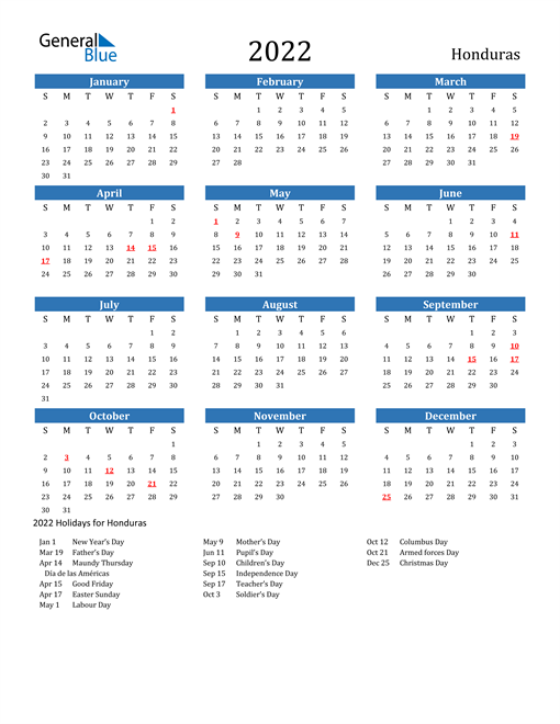 Image of 2022 Calendar - Honduras with Holidays