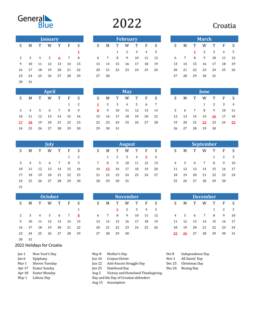 Image of 2022 Calendar - Croatia with Holidays
