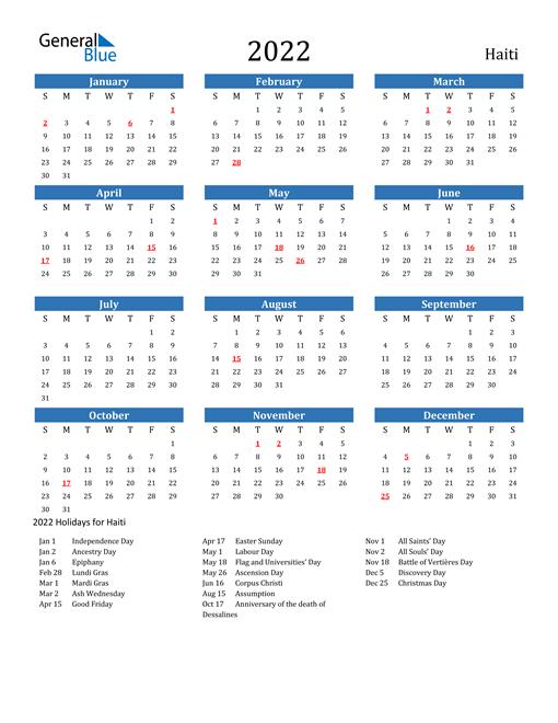Image of 2022 Calendar - Haiti with Holidays