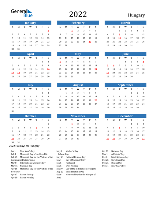 Image of 2022 Calendar - Hungary with Holidays