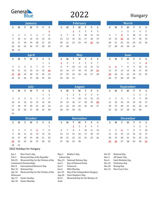 2022 Calendar with Hungary Holidays