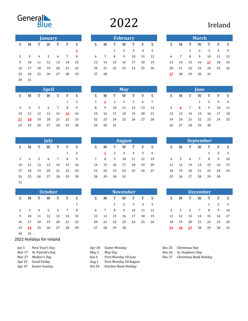 Image of 2022 Calendar - Ireland with Holidays