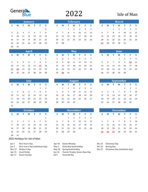 2022 Calendar with Isle of Man Holidays