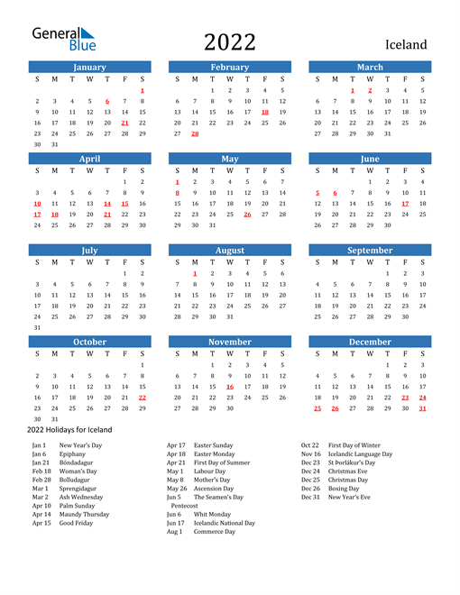 Free Printable Calendar in PDF, Word and Excel - Iceland
