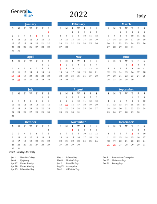 Image of 2022 Calendar - Italy with Holidays