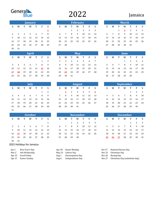 Image of Jamaica 2022 Calendar with Holidays