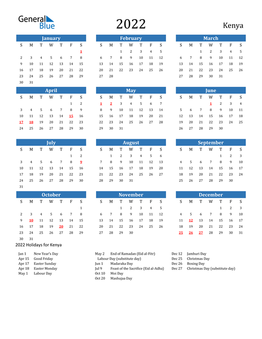 Image of 2022 Calendar - Kenya with Holidays