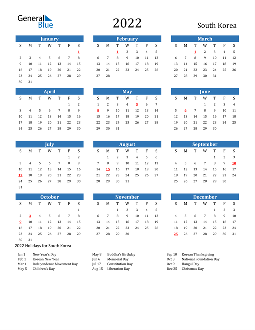 Image of 2022 Calendar - South Korea with Holidays