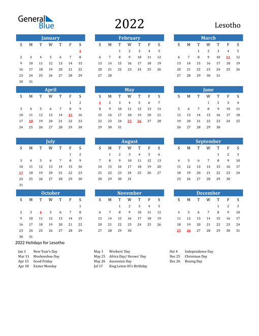 Image of 2022 Calendar - Lesotho with Holidays