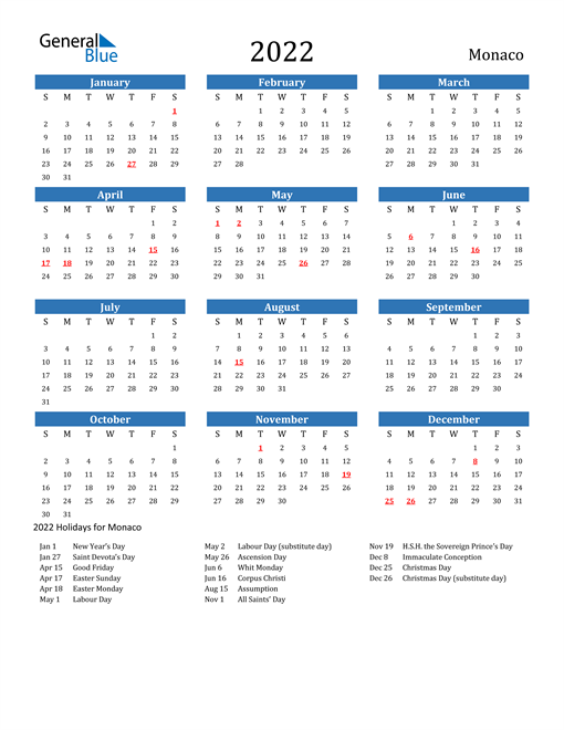Image of 2022 Calendar - Monaco with Holidays