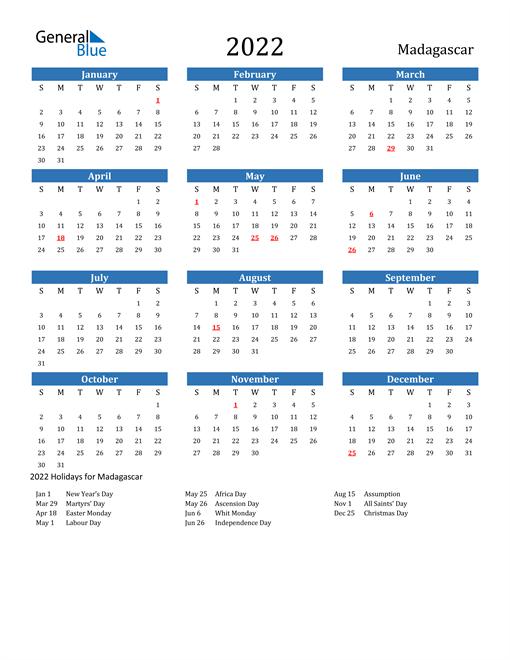 Image of 2022 Calendar - Madagascar with Holidays
