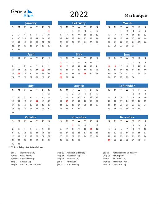 2022 Calendar with Martinique Holidays