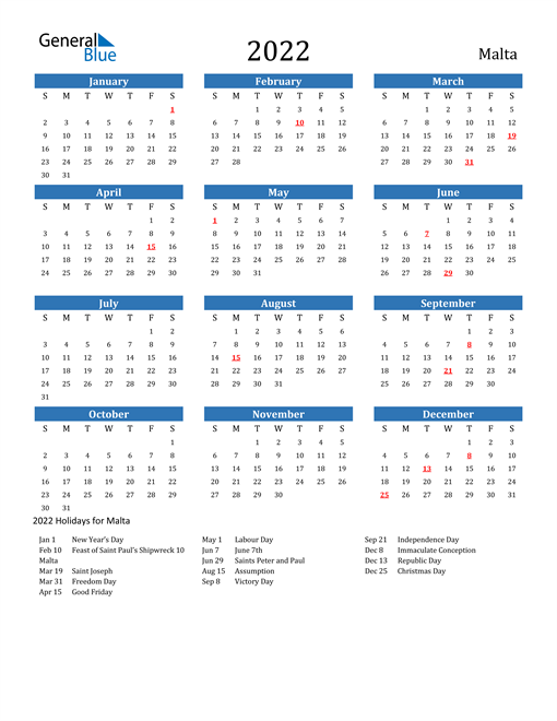 Image of 2022 Calendar - Malta with Holidays