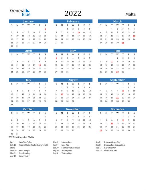 2022 Calendar with Malta Holidays