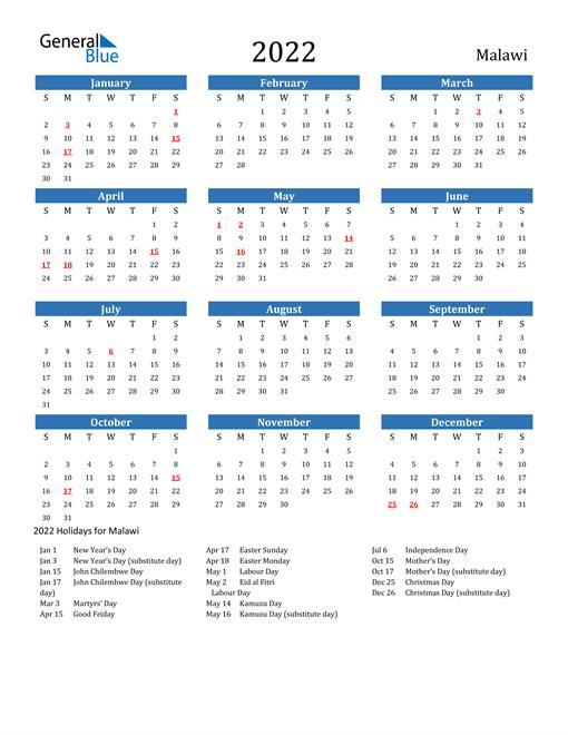 Image of 2022 Calendar - Malawi with Holidays
