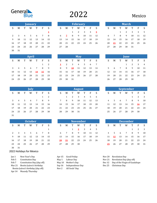 Image of 2022 Calendar - Mexico with Holidays