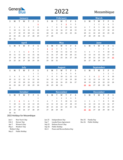 Image of 2022 Calendar - Mozambique with Holidays