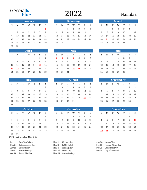 Image of 2022 Calendar - Namibia with Holidays