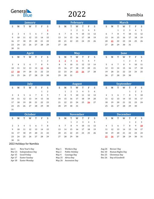 2022 Calendar - Namibia with Holidays