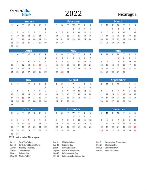 Nicaragua 2022 Calendar with Holidays