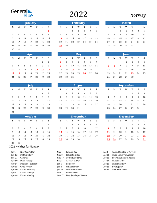Image of 2022 Calendar - Norway with Holidays