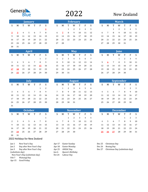 Image of 2022 Calendar - New Zealand with Holidays