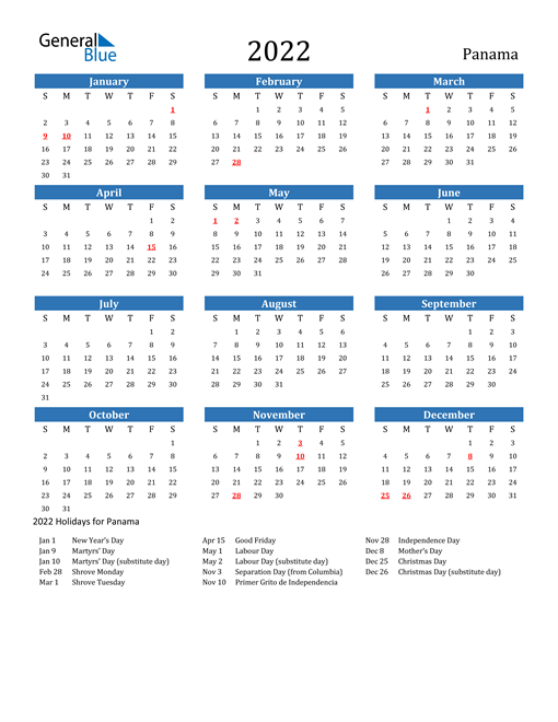 Image of 2022 Calendar - Panama with Holidays