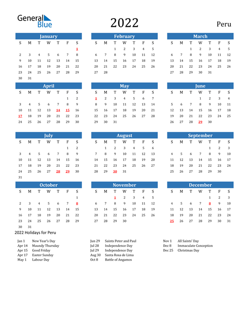 Image of 2022 Calendar - Peru with Holidays