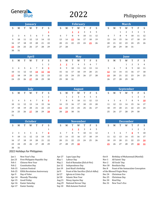 Image of 2022 Calendar - Philippines with Holidays