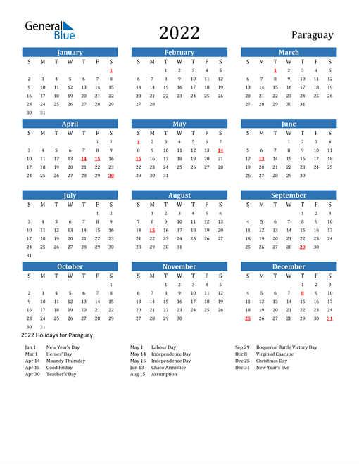 Image of 2022 Calendar - Paraguay with Holidays