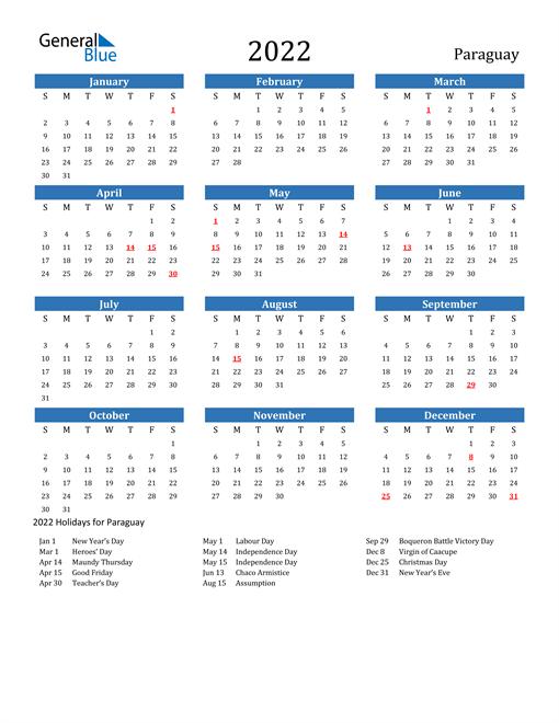Paraguay 2022 Calendar with Holidays