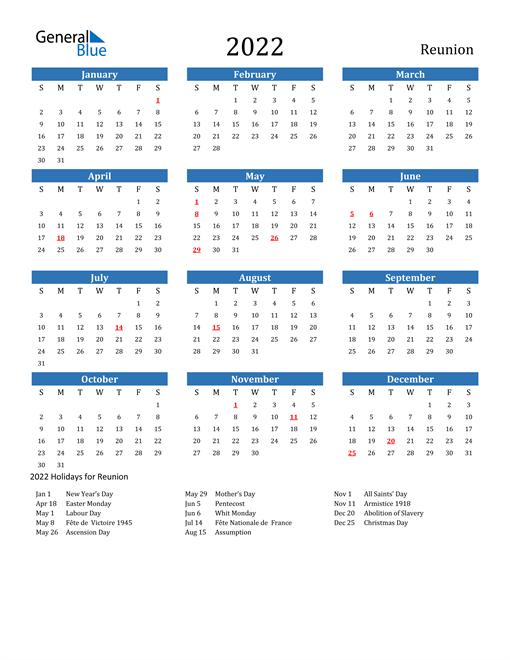 Image of 2022 Calendar - Reunion with Holidays