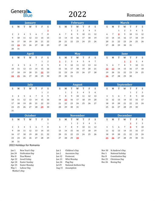2022 Calendar with Romania Holidays