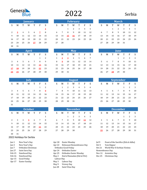Image of 2022 Calendar - Serbia with Holidays