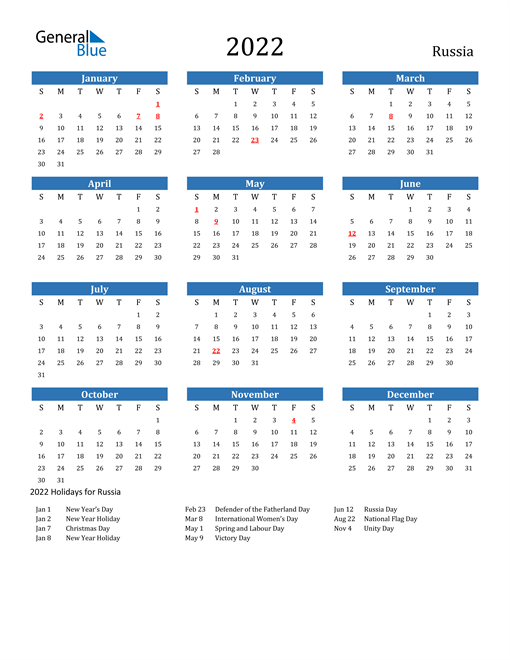 Image of 2022 Calendar - Russia with Holidays