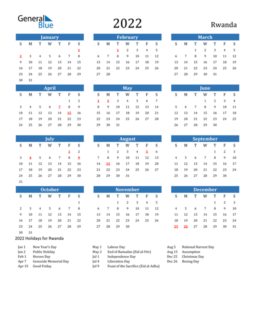 Image of 2022 Calendar - Rwanda with Holidays