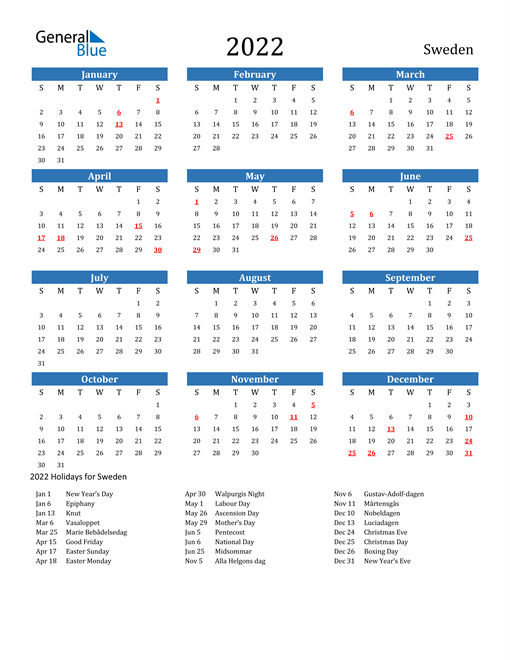 Image of 2022 Calendar - Sweden with Holidays