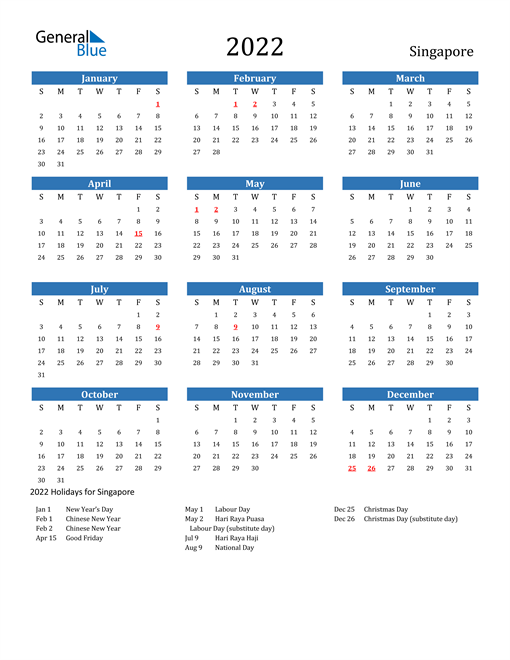 Image of 2022 Calendar - Singapore with Holidays