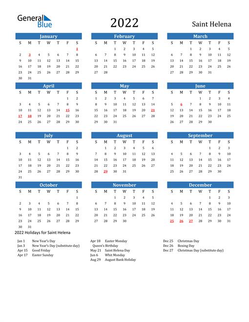 Image of 2022 Calendar - Saint Helena with Holidays