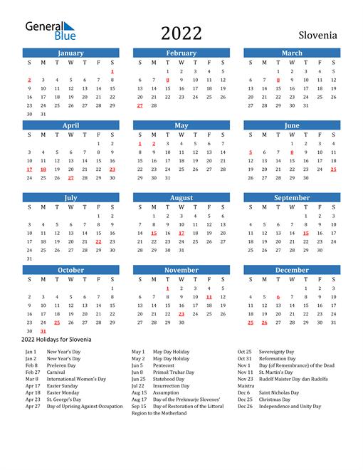 Image of 2022 Calendar - Slovenia with Holidays